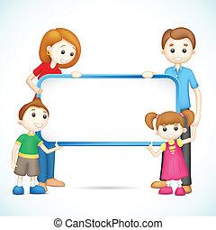 painél publicitário, família, vetorial, segurando, feliz, 3d