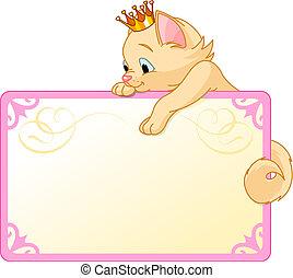 painél publicitário, gato, convidar, princesa, ou