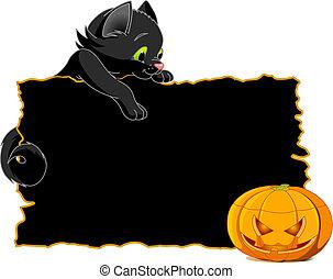painél publicitário, gato preto, convidar, ou