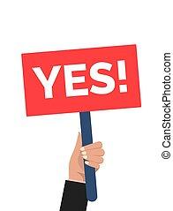 painél publicitário, sinal., dizer, mão, protesto, vitória, segurando, sim, opinion., homem