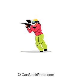 paintball, vetorial, player., illustration.