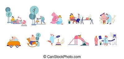 pais, visitando, macho, caráteres, playground., doutor, tocando, preparar, criança, jogo, femininas, crianças, mulheres, nascimento