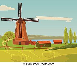 paisagem., apartamento, fazenda, ilustração, vetorial, moinho, caricatura