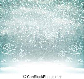 paisagem., inverno, nevada, floresta