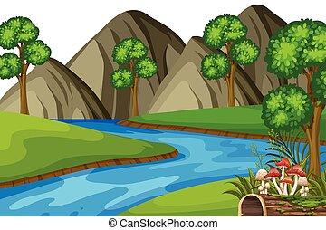 paisagem, montanhas, rio, fundo