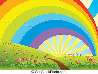 paisagem rural, arco íris