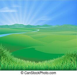 paisagem rural, ilustração