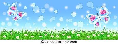 paisagem, verão, flores, fada, verde, borboletas, capim, prado