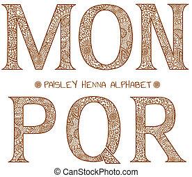 paisley, alfabeto, henna, m