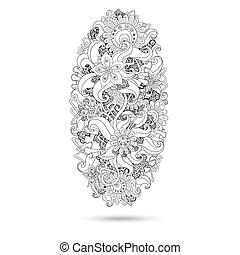 paisley, henna, desenho, mehndi, doodles, element.