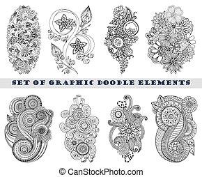 paisley, jogo, doodle, henna, mehndi, element.