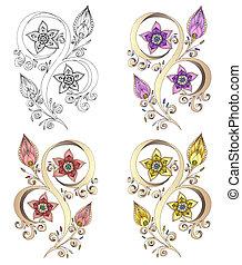 paisley, jogo, henna, ilustração, vetorial, mehndi, element.