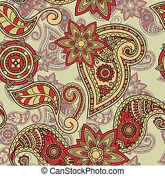 paisley, padrão, seamless, mão, vetorial, desenhado