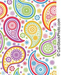 paisley, pattern., coloridos, seamless