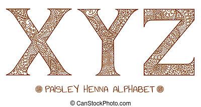paisley, y, x, alfabeto, henna, z