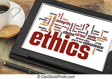 palavra, ética, digital, nuvem, tabuleta