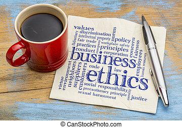 palavra, ética, negócio, nuvem