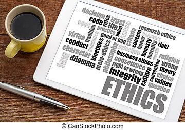 palavra, ética, nuvem, café, tabuleta