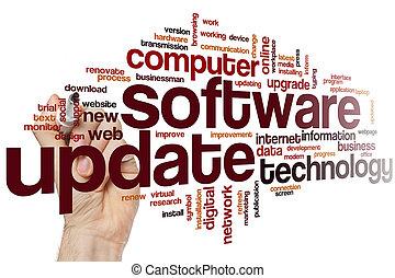 palavra, actualização, nuvem, software