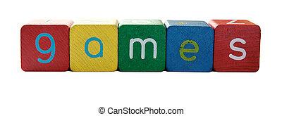 palavra, bloco, jogos, letras