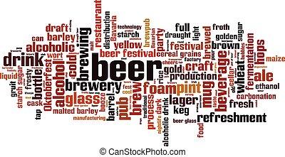palavra, cerveja, nuvem