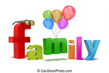 palavra, colorido, família, letters.