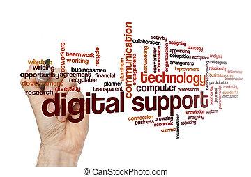 palavra, conceito, digital, apoio, nuvem