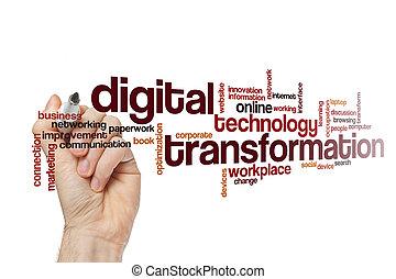 palavra, conceito, digital, transformação, nuvem