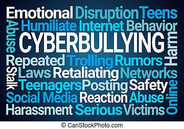 palavra, cyberbullying, nuvem
