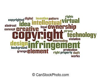 palavra, direitos autorais, nuvem