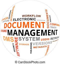 palavra, documento, -, nuvem, gerência