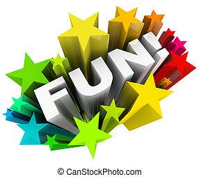 palavra, entretenimento, starburst, estrelas, divertimento, divertimento