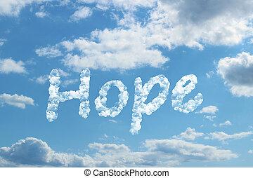 palavra, esperança, nuvem