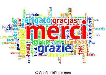 palavra, francês, obrigado, merci, nuvem branca, abertos
