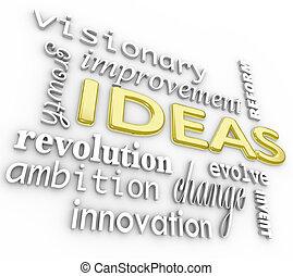 palavra, fundo, -, idéias, palavras, inovação, visão, 3d