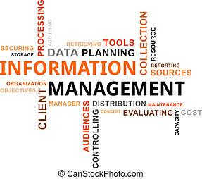palavra, gerência, -, nuvem, informação