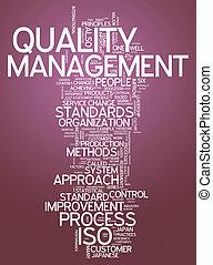 palavra, gerência, qualidade, nuvem