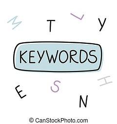 palavra, ilustração, keywords, vetorial, concept-