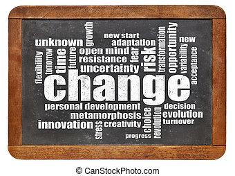 palavra, mudança, nuvem