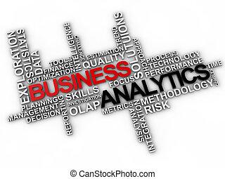 palavra, negócio, sobre, analytics, fundo, nuvem branca