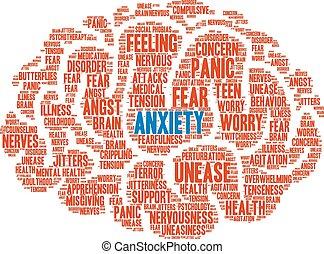 palavra, nuvem, ansiedade