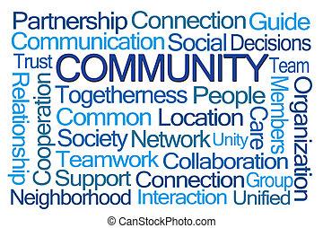 palavra, nuvem, comunidade