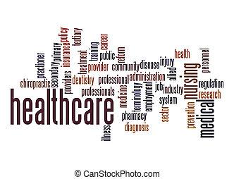 palavra, nuvem, cuidados de saúde