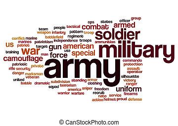 palavra, nuvem, exército