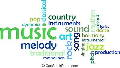 palavra, -, nuvem, música