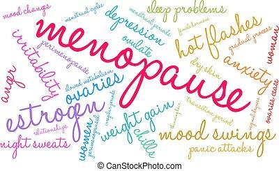 palavra, nuvem, menopausa