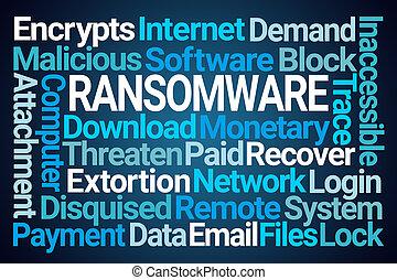 palavra, nuvem, ransomware