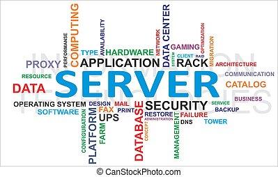 palavra, -, nuvem, servidor