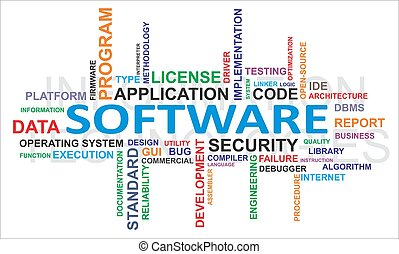 palavra, -, nuvem, software