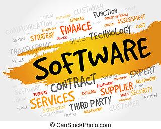 palavra, nuvem, software